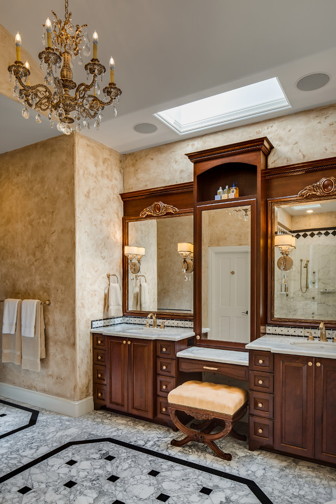 Jado Faucets Bathroom Traditional with Crystal Chandlier Custom Vanity Skylight Traditional Design with a Tuscan Flair Venetian