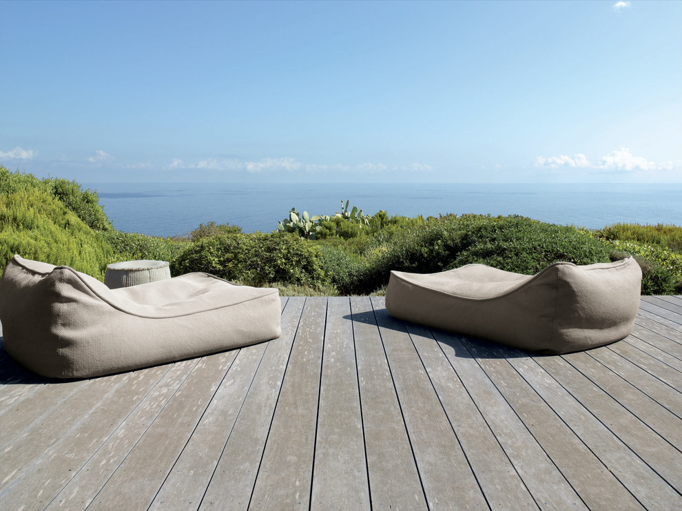 Jaxx Bean Bag Deck Rustic with Bean Bag Chairs Chaise Lounge Coastal Deck Minimal Neutral Colors Outdoor Cushions