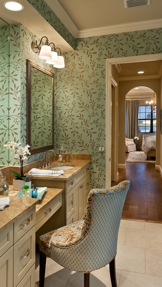 Jeremiah Lighting Bathroom Traditional with Aqua Wallpaper Flat Panel Cabinets Master Suite Painted Trim Vanity Top Wallpaper