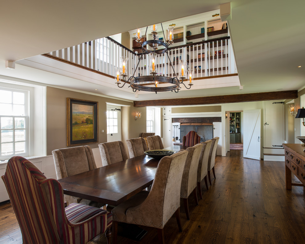 Jeremiah Lighting Dining Room Farmhouse with Antique Wood Floors Balcony Banister Beige Bookcases Candle Chandelier Candles Chandelier Country