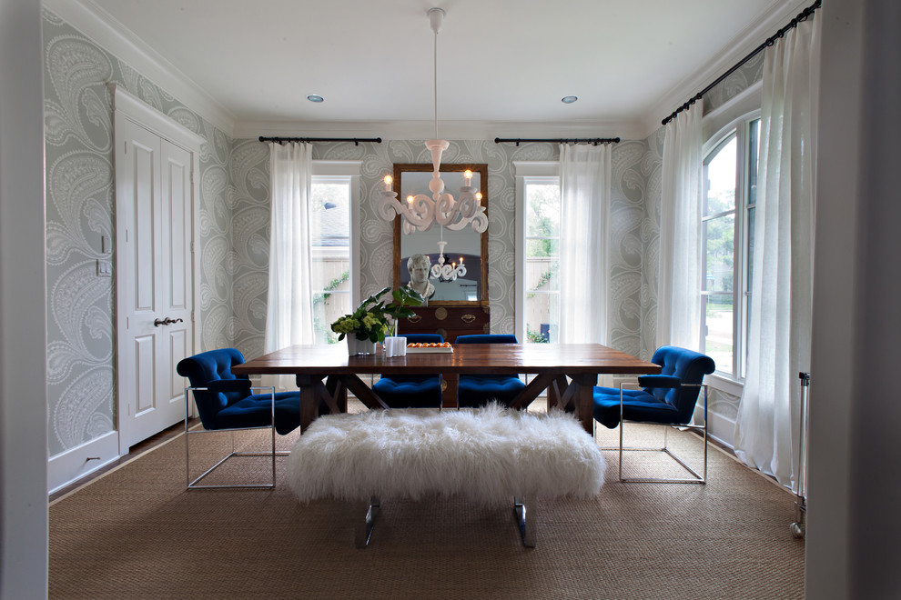 Jeremiah Lighting Dining Room Transitional with Bench Seat Blue Tufted Upholstery Bust Chandelier Chrome Curtain Panels Mirror Raised