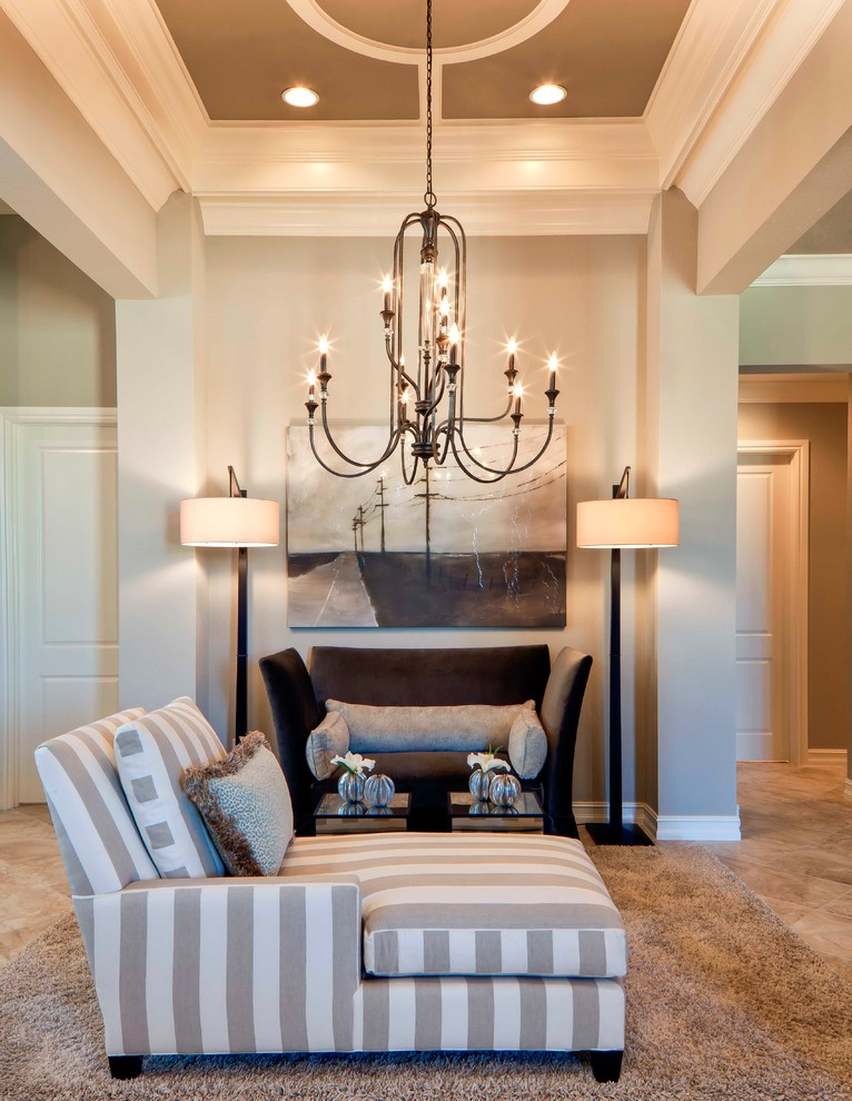 Jeremiah Lighting Living Room Traditional with Area Rug Artwork Ceiling Design Ceiling Detail Chaise Chandelier Crown Molding Floor