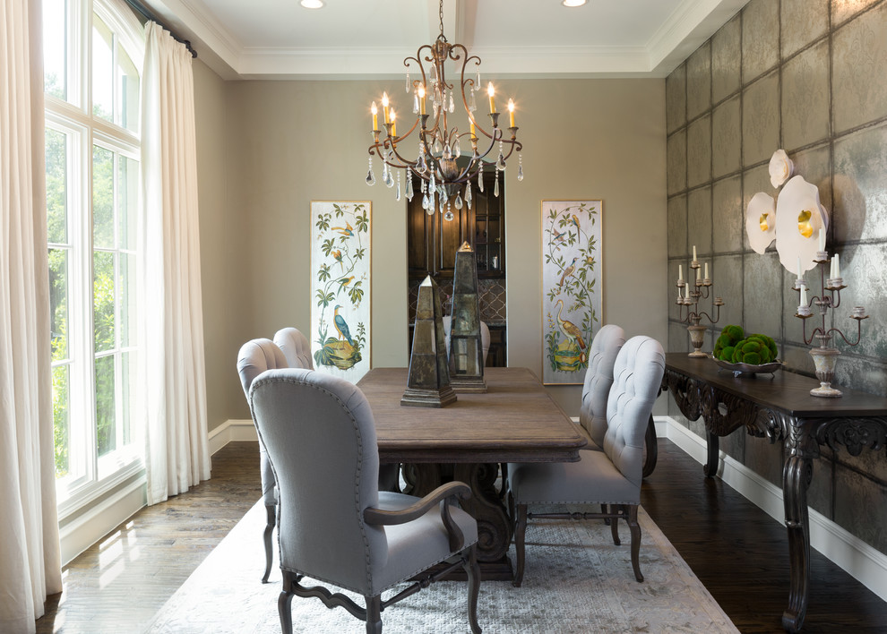 Jessica Mcclintock Furniture Dining Room Traditional With Accent Wall Buffet Centerpiece Chandelier Curtains Chairs Table Large Windows