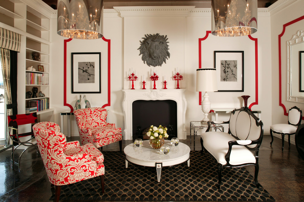 Jessica Mcclintock Furniture Living Room Traditional with Black Chandelier Crown Molding Fireplace Lion Molding Red White