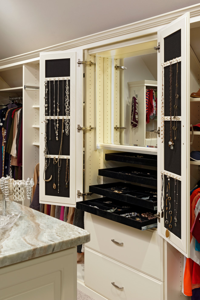 Jewelry Armoire Closet Traditional with Accessories Built in Mirror Cabinet Jewelry Necklace Hooks Pull Out Trays Slide