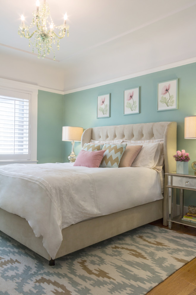 Joss and Main Rugs Bedroom Traditional with Pastel Colors Picture Rail Small Chandelier Tufted Headboard Upholstered Headboard