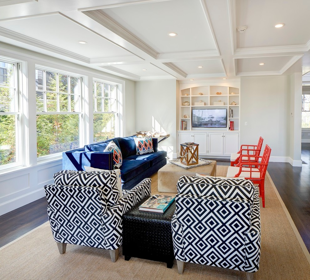 Joss and Main Rugs Family Room Beach with Beach Home Bright Bright Colors Built in Shelves Built Ins Chairs Coffered Ceiling