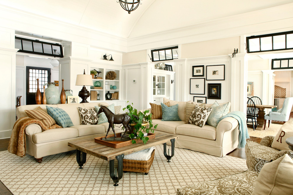 Joss and Main Rugs Living Room Traditional with Area Rug Beige Sofa Beige Wall Built in Shelves Cushions Doorway Mixed Patterns