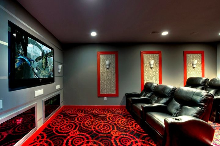 Joy Carpets Home Theater Contemporary with Art Deco Bold Colors Built in Tv Contemporary Theater Room Framed Wallpaper Graphic