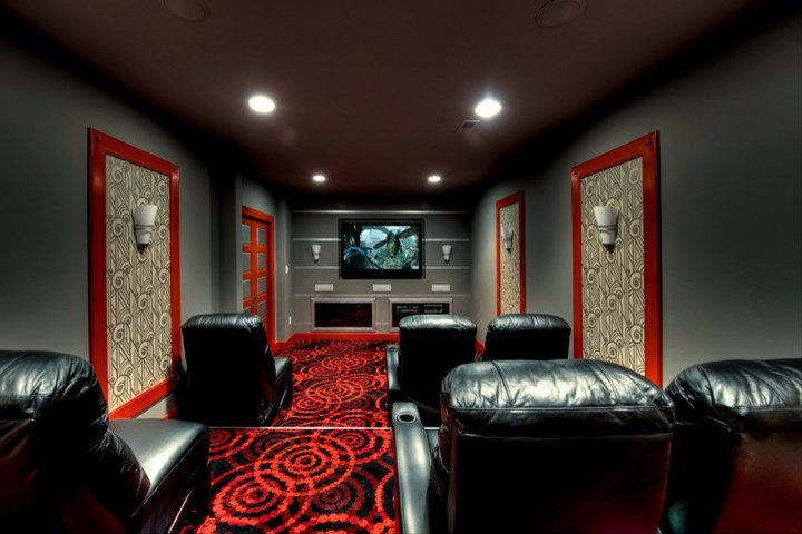 joy carpets Home Theater Contemporary with art deco bold colors built-in TV contemporary theater room framed wallpaper gray