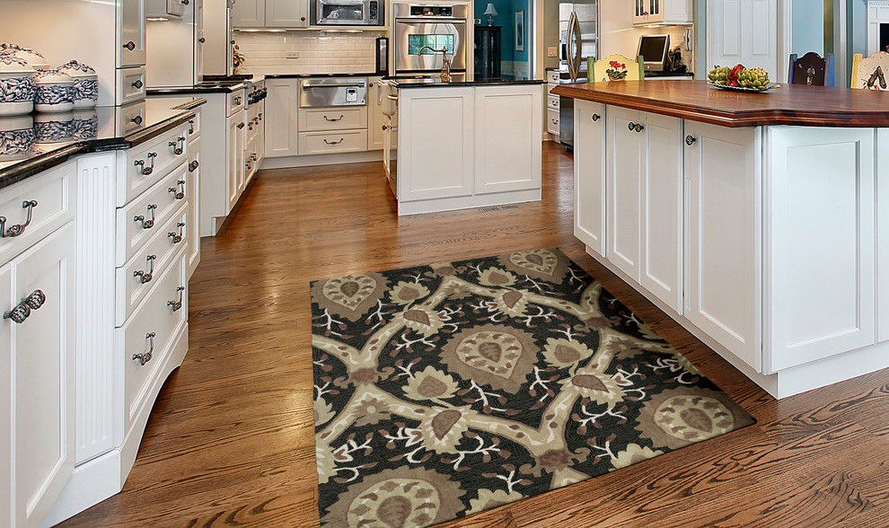 Kaleen Rugs Kitchen Transitional with Area Rugs Beige Black Casual Floral Rugs Geometric Hand Tufted Rugs Handmade