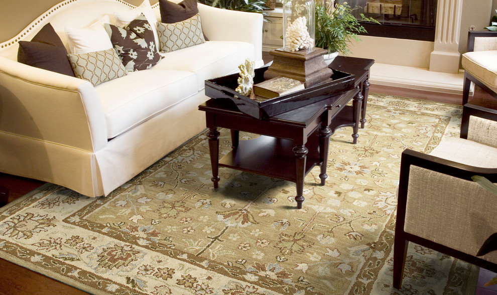 kaleen rugs Living Room Traditional with area rugs beige camel casual dark chocolate brown hand tufted rug handmade