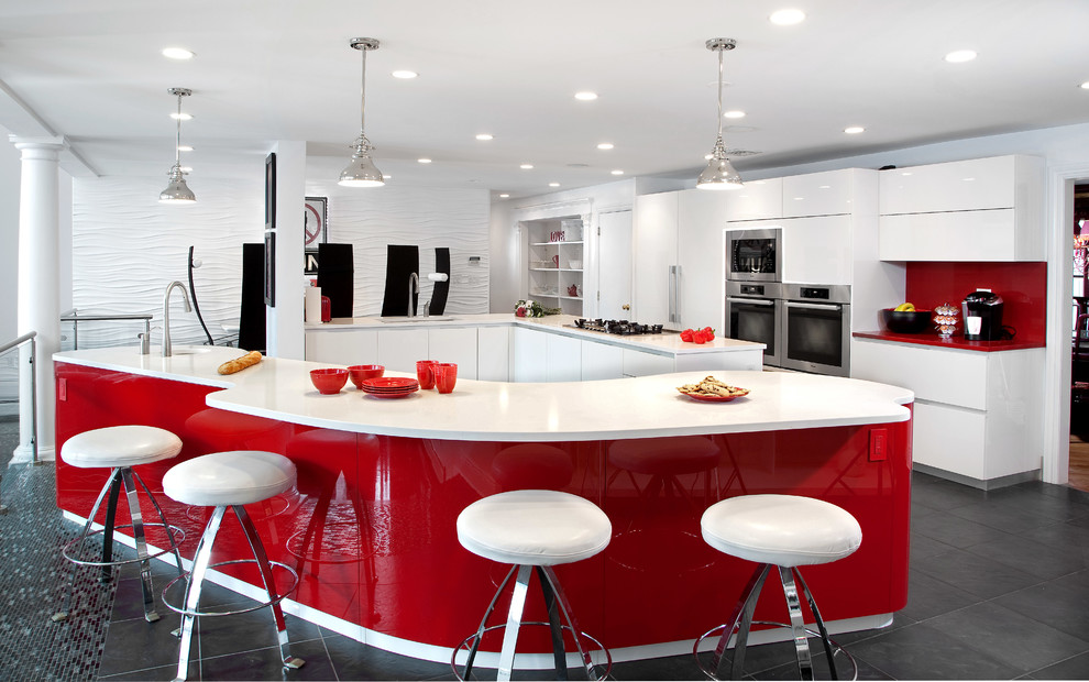 keurig k10 Kitchen Contemporary with Caesarstone celebrity frameless glossy high gloss Italian design miele new jersey pendant