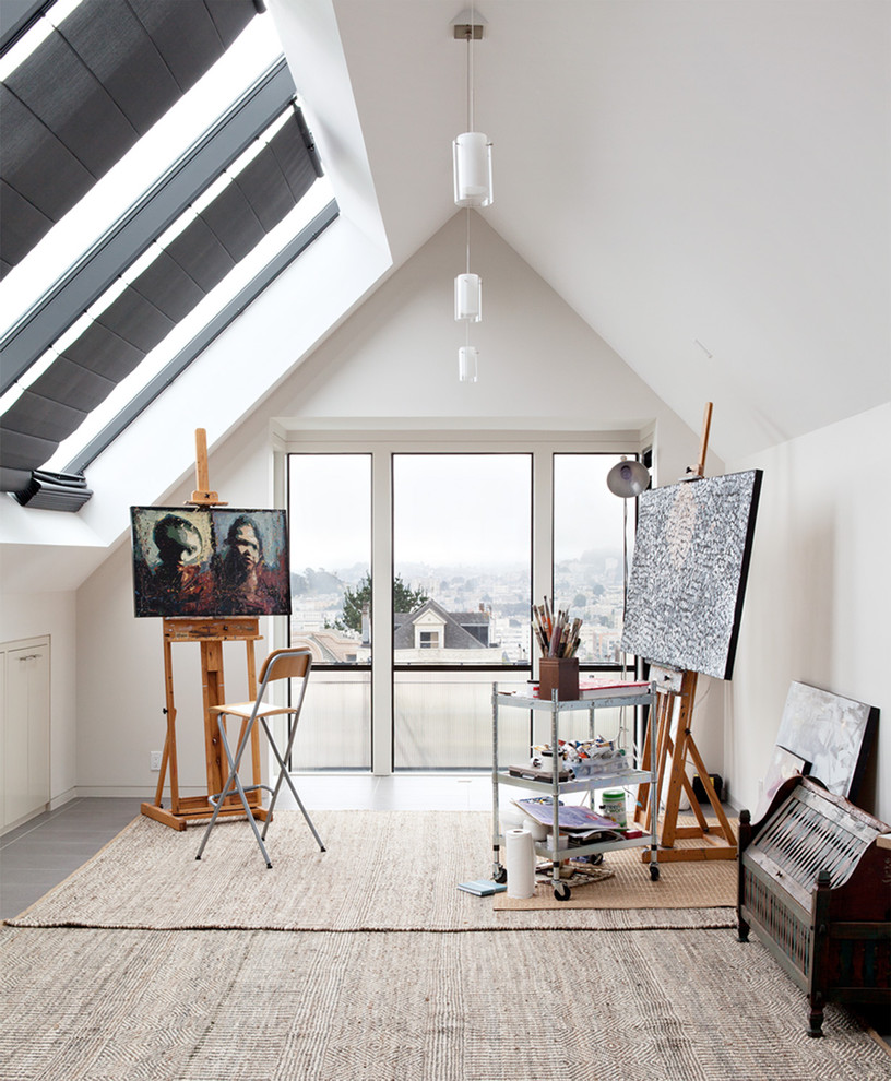 Kids Art Easel Home Office Contemporary with Area Rug Artist Studio Balcony City View Easel Folding Chair Gray Tile