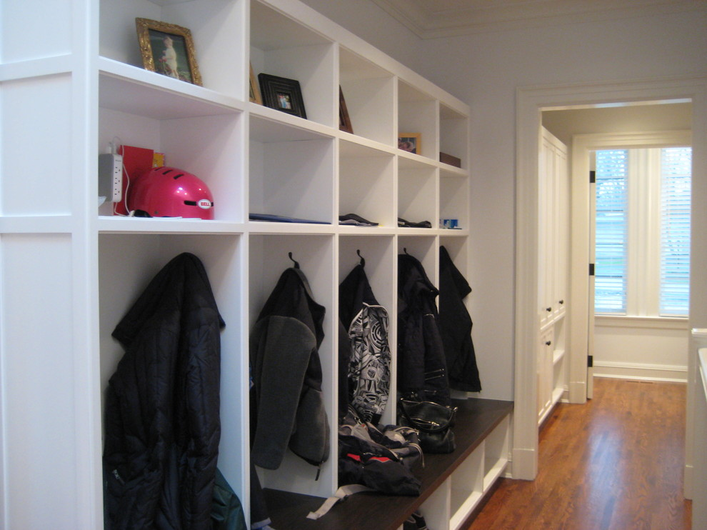 Kids Rolling Backpack Hall Traditional with Built Ins Closets Coat Rack Cubbies Curtains Dark Floor Entry Bench Lockers