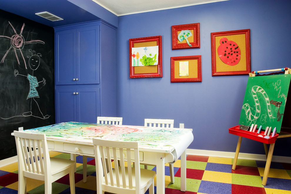 Kids Rolling Backpack Kids Traditional with Art Room Art Table Blue Wall Built in Cabinet Carpet Tiles Chalkboard