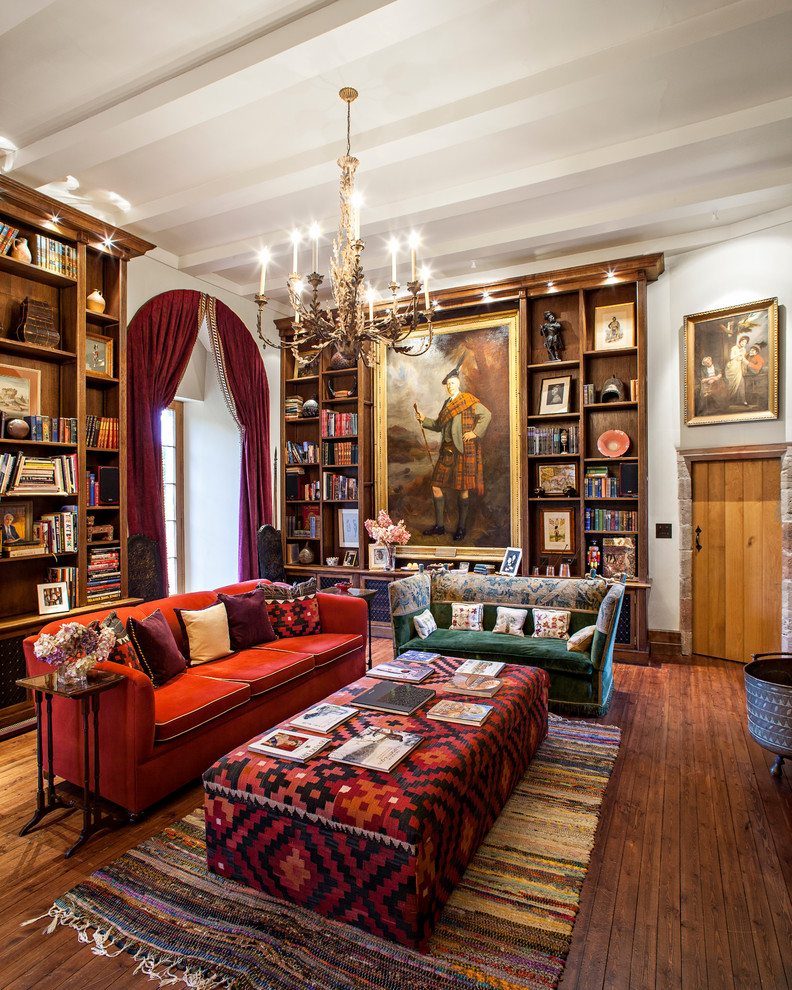 Kilim Rug Living Room Victorian with Beamed Ceiling Built in Bookcase Built in Cabinets Castle Chandelier Coffee Table