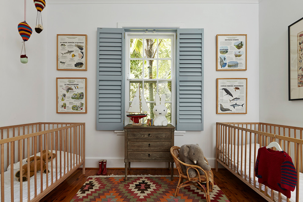 Kilim Rug Nursery Eclectic with Baby Cot Blue Shutters Crib Louvered Shutters Nursery Nursery Furniture Patterned Rug