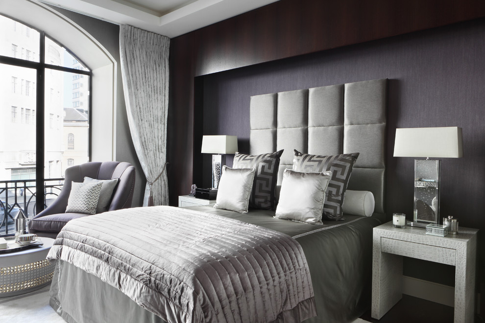 King Bed Headboard Bedroom Contemporary with Bedroom Sitting Area Black and Grey Bedroom Clear Table Lamp Contemporary Design
