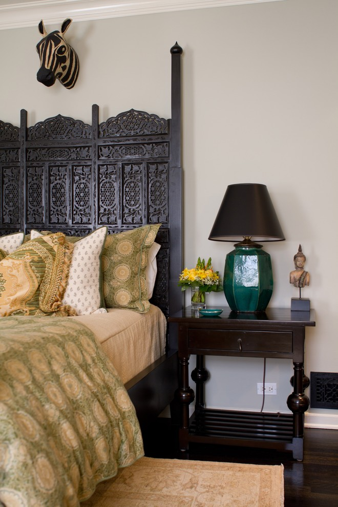 King Bed Headboard Bedroom Eclectic with None