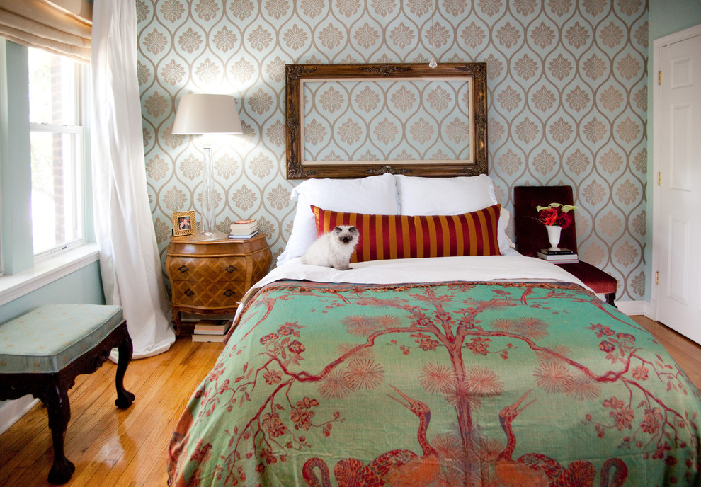 King Bedspread Bedroom Eclectic with Accent Wall Bedside Table Colorful Curtains Drapes Empty Mirror Green and Pink