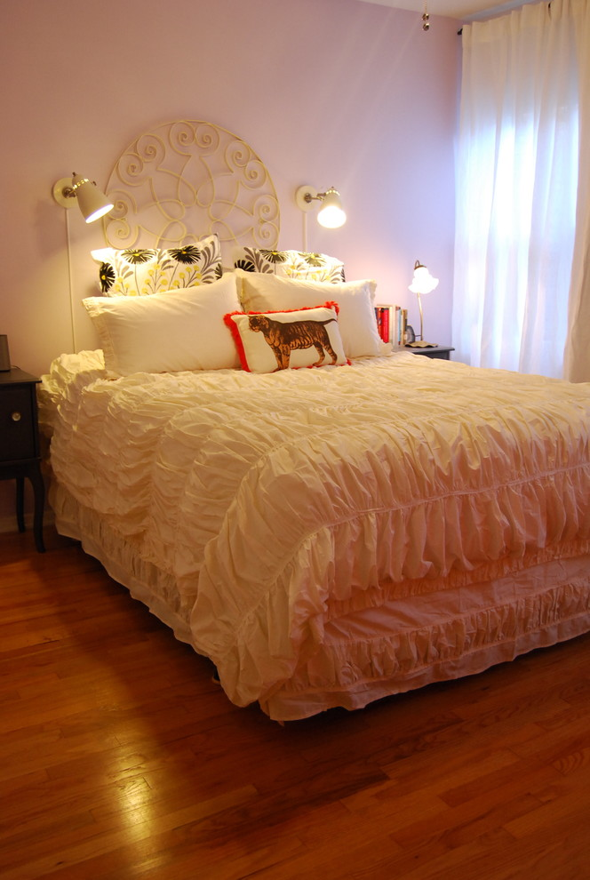 King Bedspread Bedroom Eclectic with Bed Pillows Curtains Decorative Pillows Drapes Gathered Ornate Headboard Reading Lamp Sconce