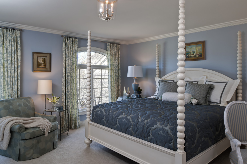 King Bedspread Bedroom Traditional with Bedroom Blue Bedroom Carpet Dark Blue Bedding Four Poster Bed Glass Side Table