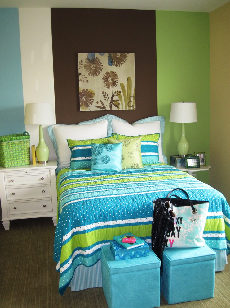 King Comforter Set Kids Contemporary with Accent Wall Bedroom Bedside Table Bold Colors Bright Colors Decorative Pillows Foot