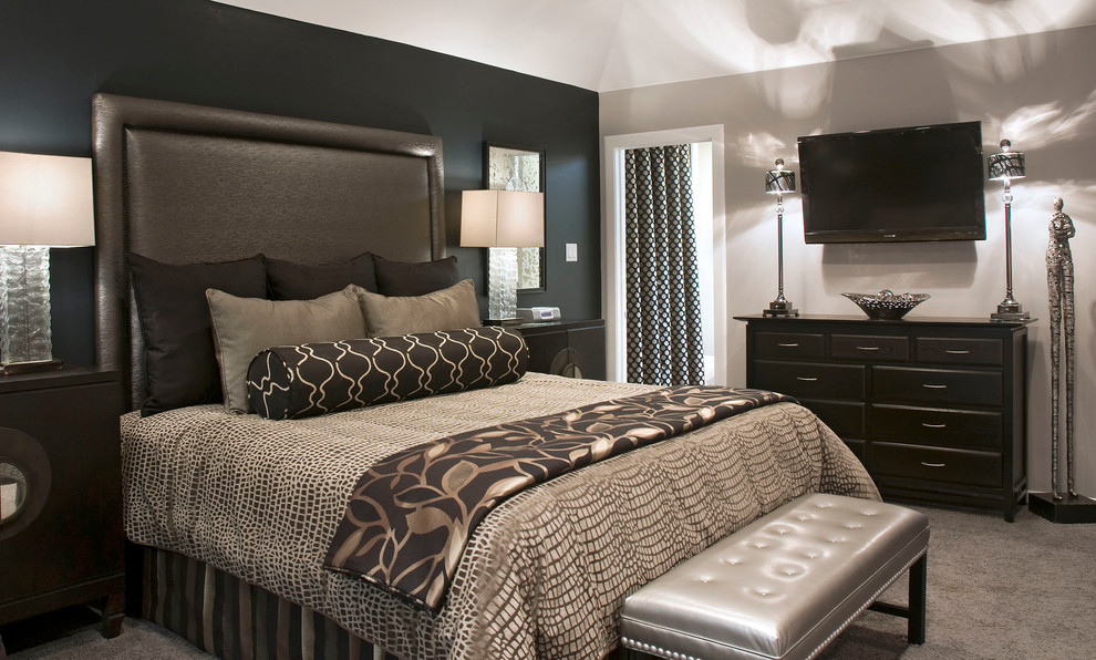king comforters Bedroom Transitional with black accent wall bolster carpet Custom Bedding custom draperies dresser Guest bedroom