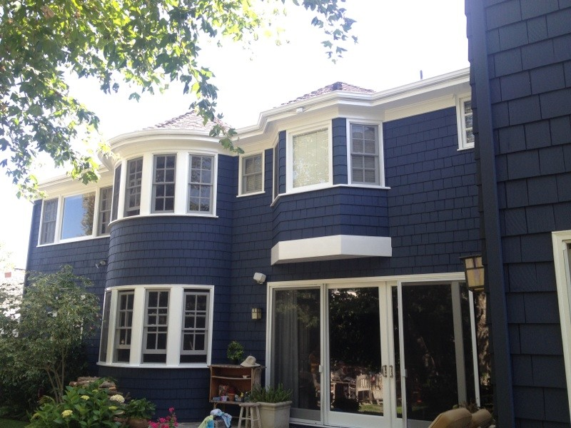 King Comforters Exterior Traditional with Blue Exterior Blue Paint White Garage White Trim White Window Trim