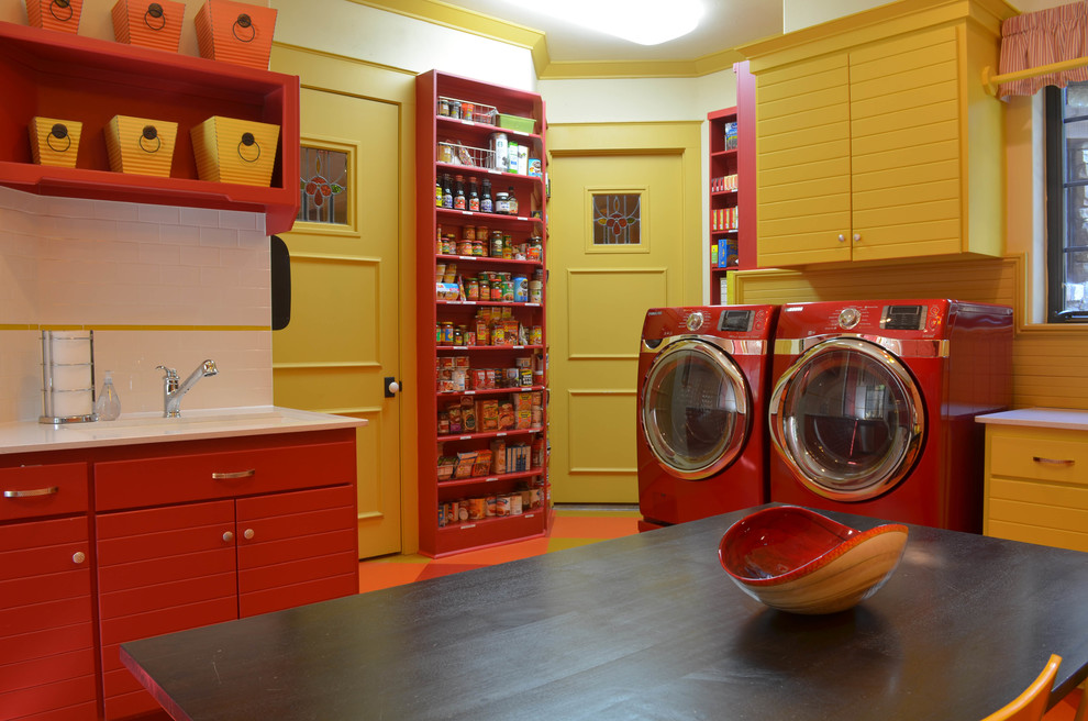 King Comforters Laundry Room Traditional with Kitchen Laundry My Houzz Orange Pantry Red Red Cabinets Sink Stained Glass