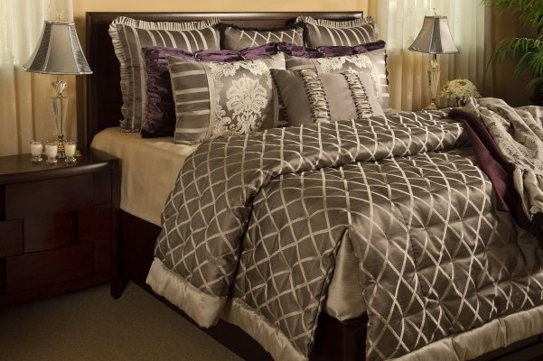 king coverlet Bedroom Traditional with Custom Bedding diamond high end king bedding Over sized Bedding platinum plum