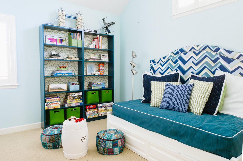 King Headboards Kids Contemporary with Analogous Color Scheme Architectural Models Blue and Green Color Scheme Blue Bookcase