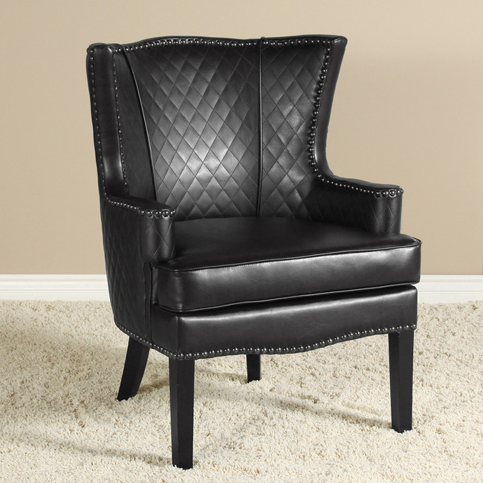 King Quilts Living Room Modern with Quilted Black Leather Armchair Vintage Design W Nailhead Accents