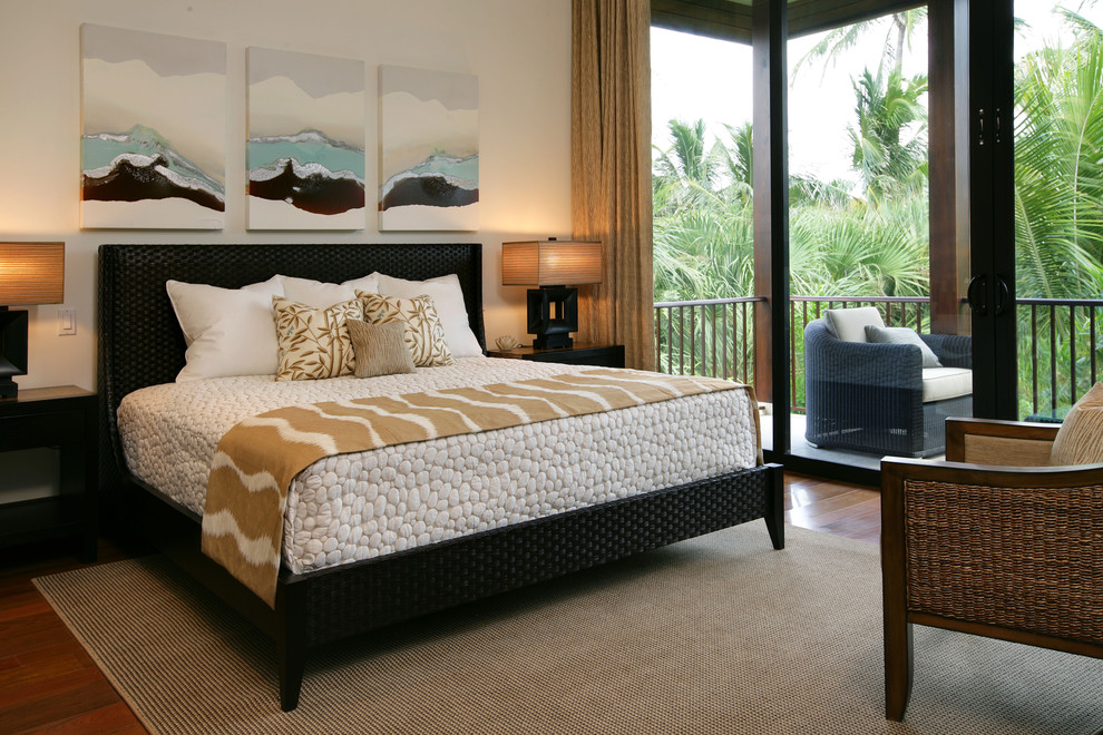 King Size Bedspreads Bedroom Tropical with Balcony Black Bed Curtains Drapes French Doors Glass Doors Platform Beds Rattan