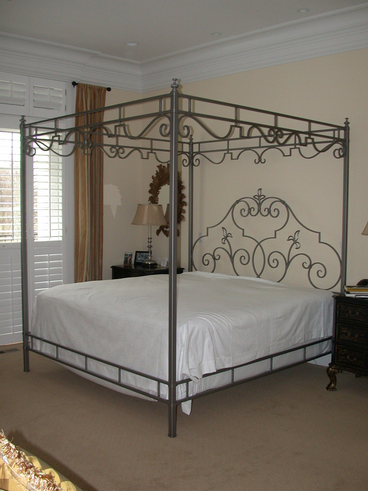 King Size Canopy Bed Bedroom Contemporary with Hand Forged