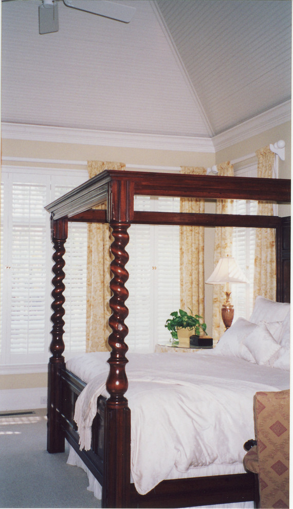 king size canopy bed Bedroom Traditional with AtlantaCeiling is vaulted to point King sized canopy bed by The Englishman'