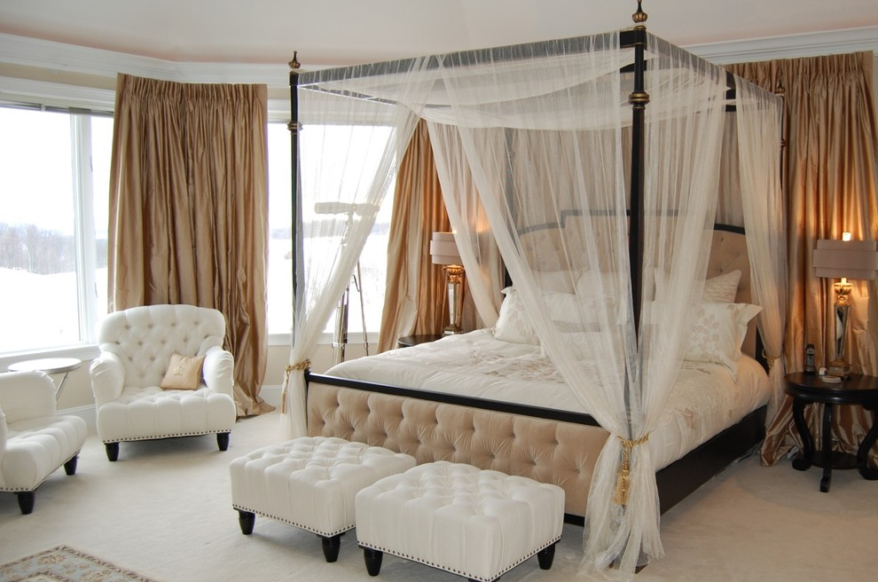 King Size Canopy Bed Bedroom Traditional with Armchair Bay Bed Bedroom Bench Canopy Canopy Sheers Chairs Cream Drapes E