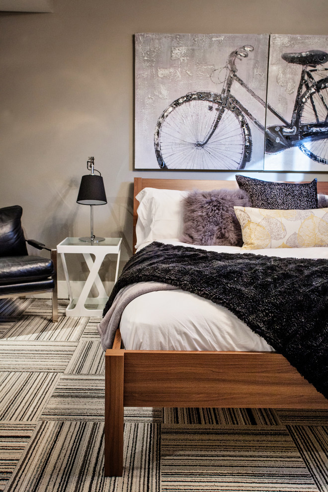 king size comforter Bedroom Contemporary with bed pillows beige walls bicycle wall art bike painting bike wall art