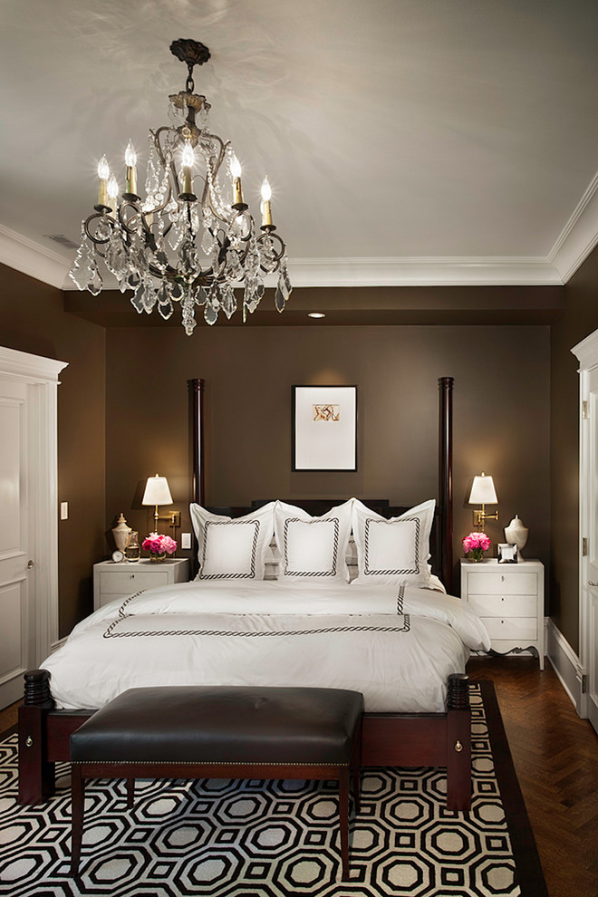 King Size Comforter Set Bedroom Traditional with Bedside Table Chandelier Chocolate Brown Walls Crown Molding Crystal Chandelier Dark Brown