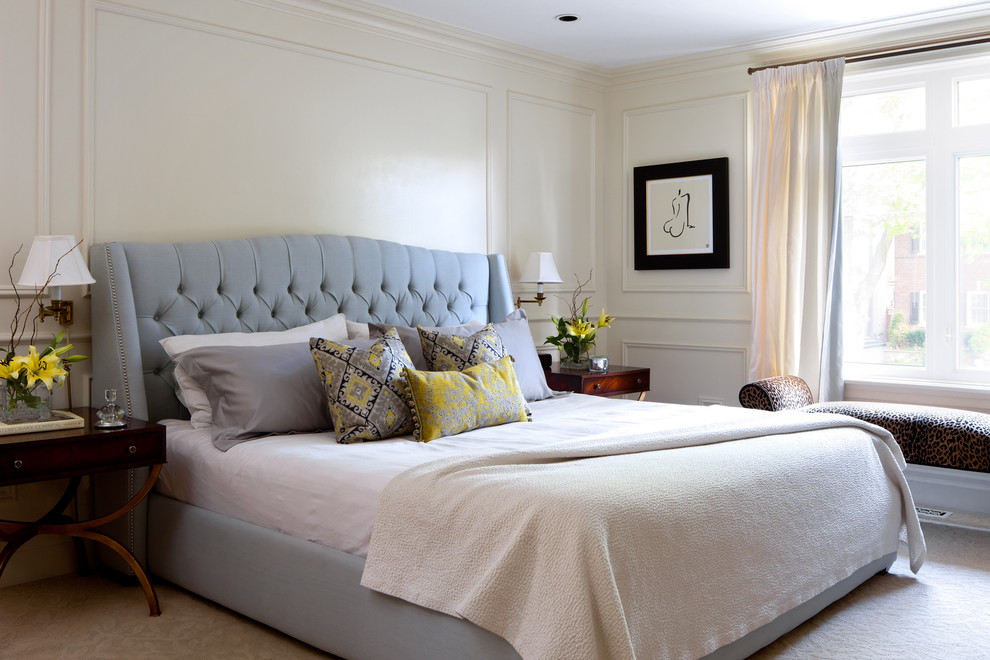 King Size Headboard Bedroom Traditional with Beige Carpet Blue and Yellow Cheetah Print Bench Daylilies Empire Style Nighstands