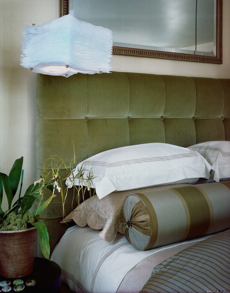 king tufted headboard Bedroom Contemporary with avocado bed roll bedside table duvet gold gray green mirror orchid pendant