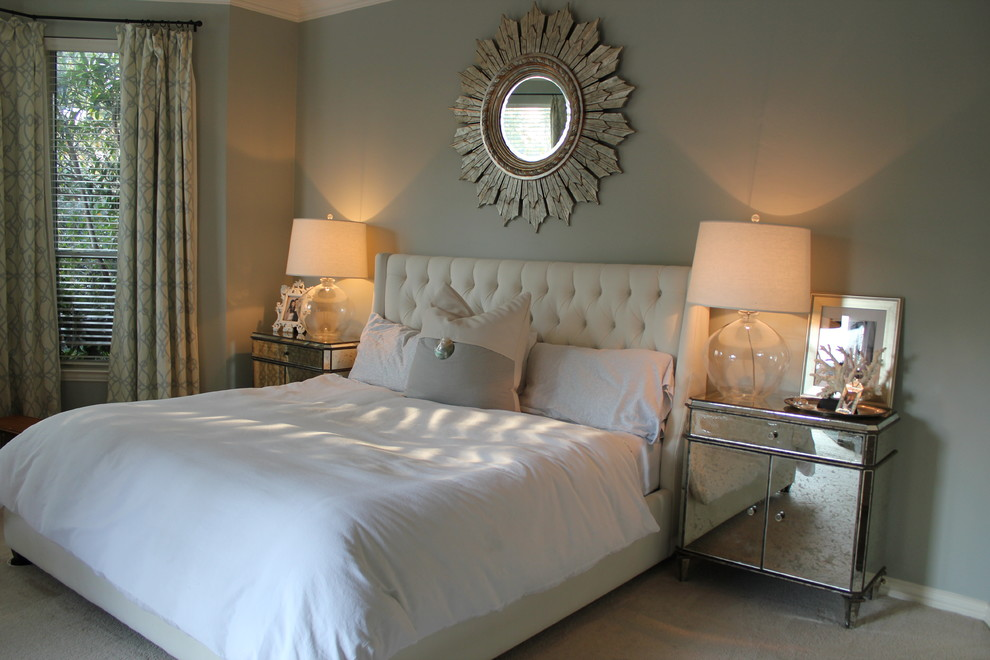 King Tufted Headboard Bedroom Traditional with Beige Carpet Crown Molding Drapes Glass Lamps Grey Walls King Tufted Headboard