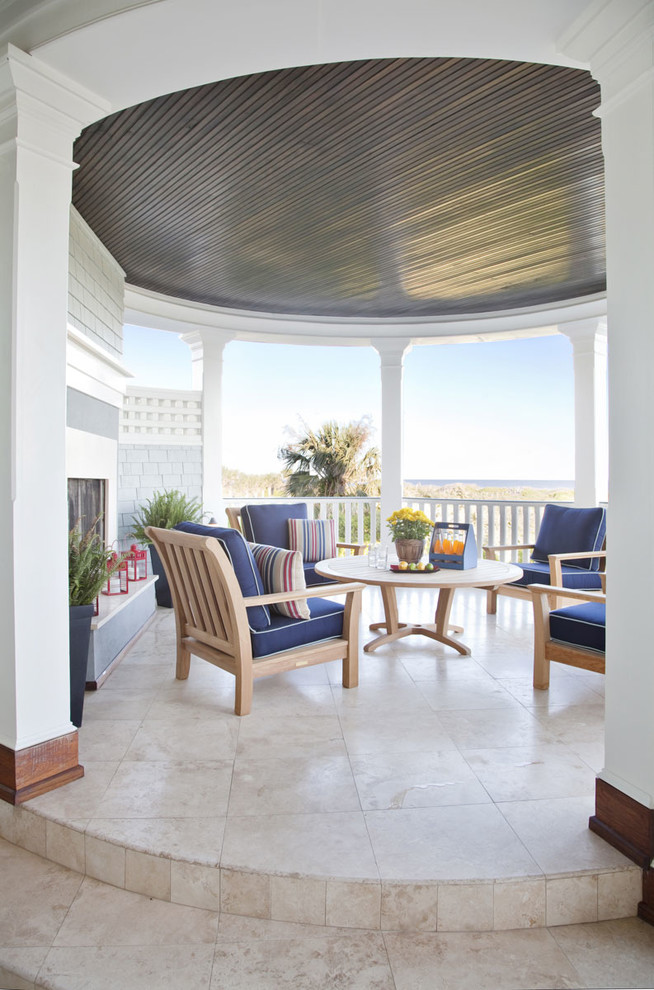 Kingsley Bate Patio Beach with Fireplace Garden Seating Pedestal Round Patio Teak Furniture Tile Tiled Floor Wood