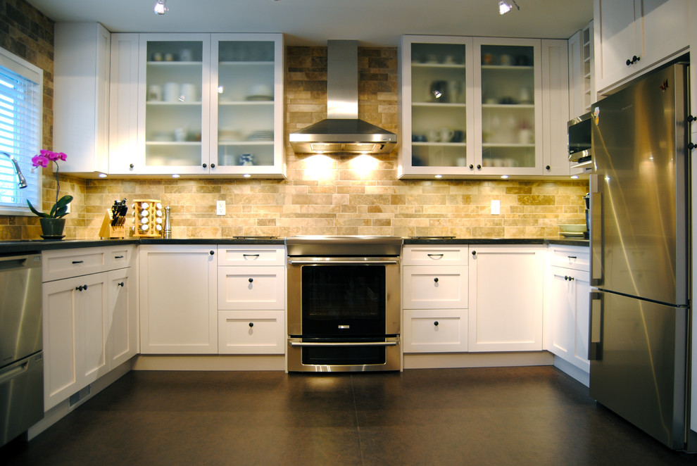 Kitchen Backsplash Tiles Kitchen Contemporary with Blinds Electrolux Fisher Paykel Frosted Glass Glass Front Cabinets Hood Induction Kitchen