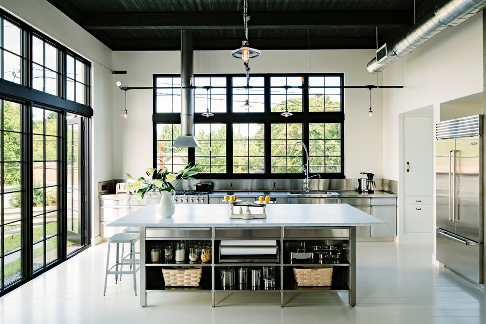 Kitchen Canisters Kitchen Industrial with Black Ceiling Ceiling Lighting Ductwork Edison Bulbs French Doors Glass Canisters Hvac