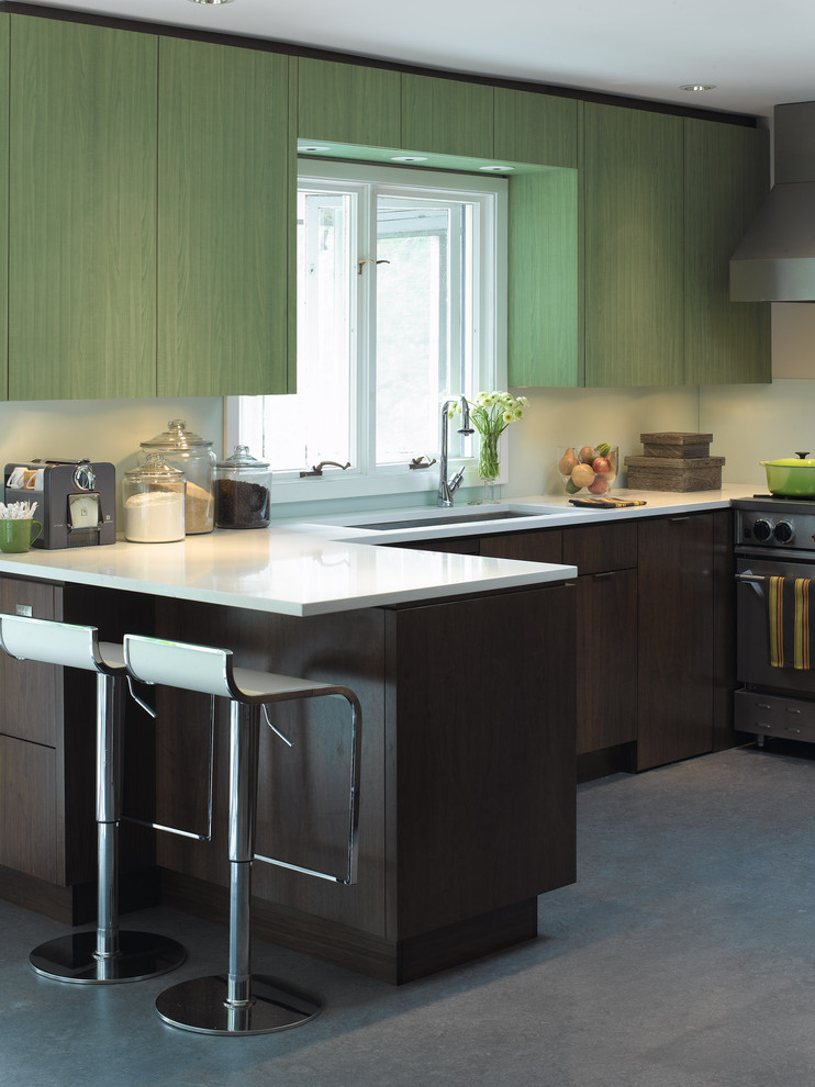 kitchen canisters Kitchen Modern with accent breakfast bar Chic clean countertop dark wood cabinets down lights eat