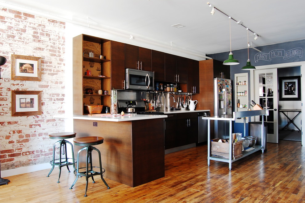 kitchen carts and islands Kitchen Industrial with bar pulls bar stools blue walls chalkboard walls exposed brick wall flat
