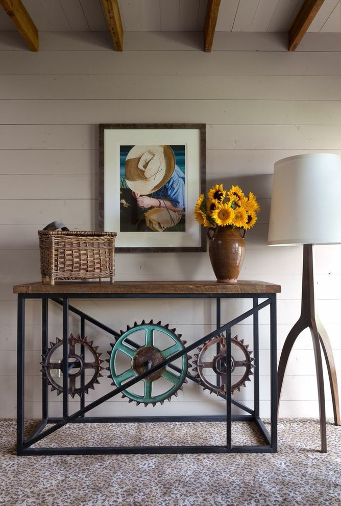Kitchen Carts on Wheels Bedroom Rustic with Animal Print Carpet Exposed Beams Photograph Rusted Gear Table Teal Blue Accent