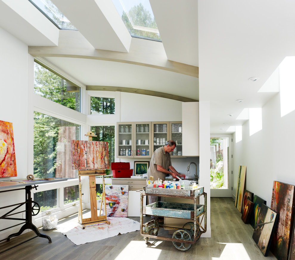 Kitchen Carts on Wheels Home Office Contemporary with Arched Roof Artist Convex Roof Glass Front Cabinets Hallway Painter Studio Sky